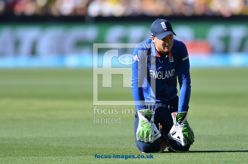Jos Buttler of England looks dejected during the 2015 ICC Cricket World Cup match at Melbourne Cricket Ground, Melbourne<br /> Picture by Frank Khamees/Focus Images Ltd +61 431 119 134<br /> 14/02/2015