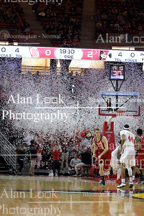 14 February 2016: Confetti is released into the arena by the Red Alert Student section as the Redbirds score their first basket of the game during the Illinois State Redbirds v Bradley Braves at Redbird Arena in Normal Illinois (Photo by Alan Look)