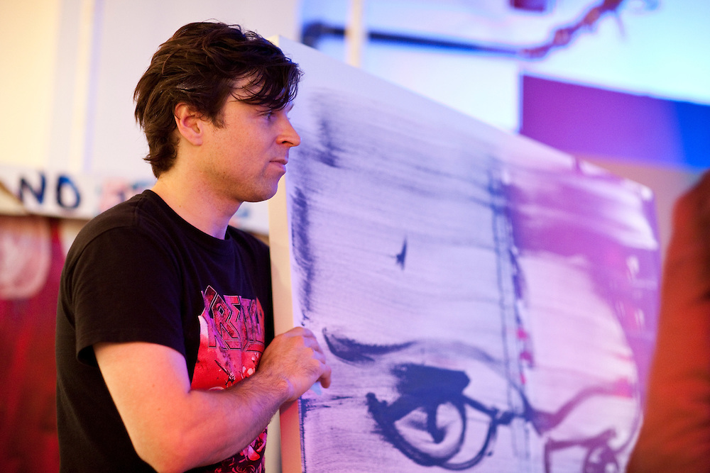 NEW YORK, NY - SEPTEMBER 23: American singer and songwriter Ryan Adams unvelis his paintings during a gallery opening at the Morrison Hotel Gallery on the Bowery with guest Jesse Malin on September 23, 2009 in New York, New York. (PHOTO CREDIT: Eric M. Townsend)