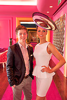 11/07/2012. .Mark T Burke  milliner and Catwalk model Leonie McGuigan  wearing a hat by the milliner himself during the 2012 Galway Races Summer Festival, official launch  in the g Hotel, Galway. The seven day festival runs from Monday 30th July to Sunday 5th August. Photo:Andrew Downes. (first use repro free).