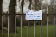 The owner of a set of keys, left on railings at an entrance to Ruskin Park in the south London borough of Lambeth, thanks the kind person who hung them up to be found, on 20th December 2017, in London, England.