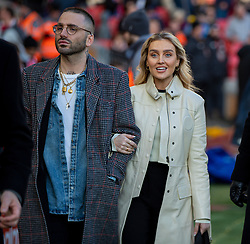 LIVERPOOL, ENGLAND - Saturday, November 30, 2019: Singer Perrie Edwards (R), partner of Liverpool's Alex Oxlade-Chamberlain, pictured before the FA Premier League match between Liverpool FC and Brighton & Hove Albion FC at Anfield. (Pic by David Rawcliffe/Propaganda)