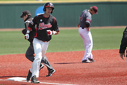 26 April 2015:  Ryan Koziol takes the home run trot in the 4th inning which also scored Jared Hendren during an NCAA Division I Baseball game between the Missouri State Bears and the Illinois State Redbirds in Duffy Bass Field, Normal IL