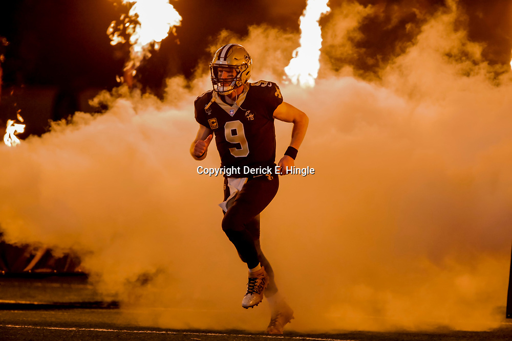 Dec 23, 2018; New Orleans, LA, USA; New Orleans Saints quarterback Drew Brees (9) during introductions prior to kickoff against the Pittsburgh Steelers at the Mercedes-Benz Superdome. Mandatory Credit: Derick E. Hingle-USA TODAY Sports