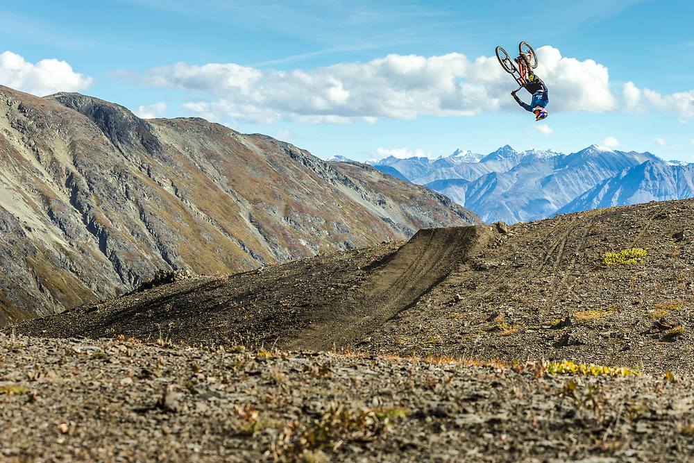 Carson Storch performs a backflip in the Tatshenshini-Alsek Provincial Park in British Columbia, Canada on September 4, 2016.