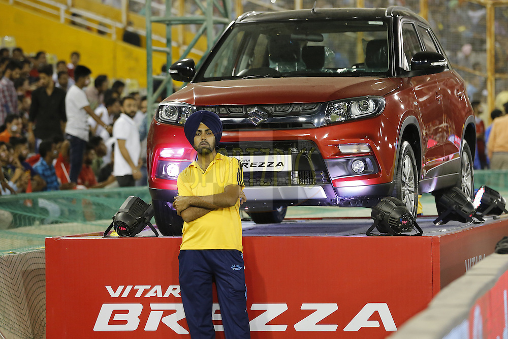 Maruti Vitra Brezza on display during match 21 of the Vivo Indian Premier League ( IPL ) 2016 between the Kings XI Punjab and the Mumbai Indians held at the IS Bindra Stadium, Mohali, India on the 25th April 2016<br /> <br /> Photo by Arjun Singh / IPL/ SPORTZPICS