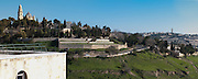 Israel Jerusalem, Panoramic view Hagia Maria Sion Abbey (formerly known as the Abbey of the Dormition of the Virgin Mary) on the left