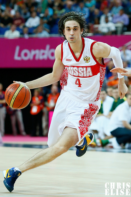 08 August 2012: Russia Alexey Shved drives past a Lithuanian player during 83-74 Team Russia victory over Team Lithuania, during the men's basketball quarter-finals, at the 02 Arena, in London, Great Britain.