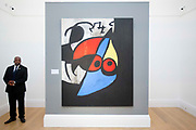 UNITED KINGDOM, London: 09 April 2018 Joan Miró's 'Femme, Oiseau' circa 1969 (valued at $10-15million) at the Impressionist and Modern and Contemporary Art sale. The Impressionist and Modern art sale will be held in New York on 14th May. Sotheby's Impressionist and Modern Art Sale, London, UK- 9 Apr 2018 Rick Findler  / Story Picture Agency