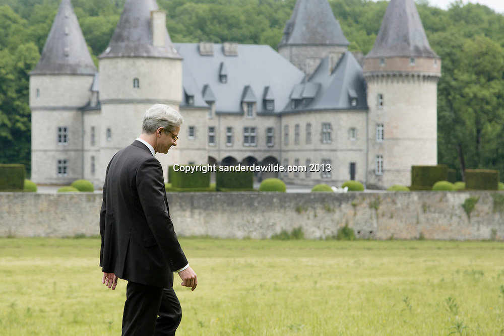 Interior architectThierry THENAERS looking at the Chateau d'Anthée, part of which has been renovated and decorated by him in Anthée, Belgium on the 10th of June 2013, Anthée, Belgium. Credit Sander de Wilde for The Wall Street Journal.  Castle