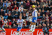 Hearts FC Forward Juanma Dalgado and Kilmarnock FC Defender Conrad Balatoni challenge the ball during the Ladbrokes Scottish Premiership match between Heart of Midlothian and Kilmarnock at Tynecastle Stadium, Gorgie, Scotland on 3 October 2015. Photo by Craig McAllister.