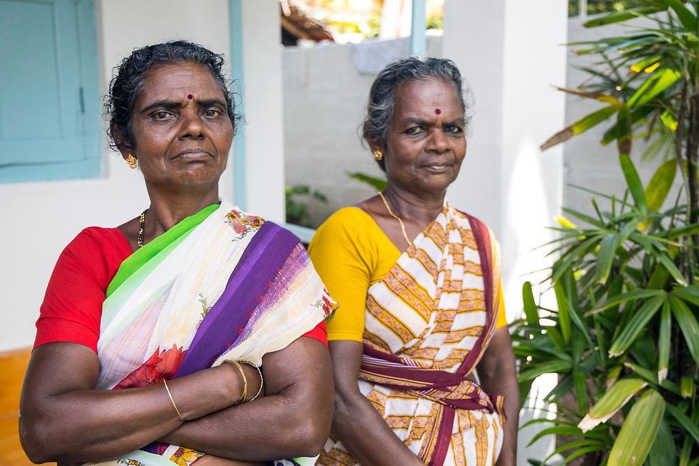 VARKALA, INDIA - 27th September 2019 - Portrait of local to Varkala wearing colourful dress and looking at camera, Varkala Cliff Beach, Kerala, Southern India
