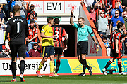 Red Card - Referee Graham Scott sends off Gaston Ramirez (21) of Middlesborough for a second bookable offence during the Premier League match between Bournemouth and Middlesbrough at the Vitality Stadium, Bournemouth, England on 22 April 2017. Photo by Graham Hunt.