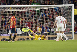 October 15, 2018 - Seville, Spain - JORDAN PICKFORD of England (C ) makes a save during the UEFA Nations League Group A4 soccer match between Spain and England at the Benito Villamarin Stadium (Credit Image: © Daniel Gonzalez Acuna/ZUMA Wire)