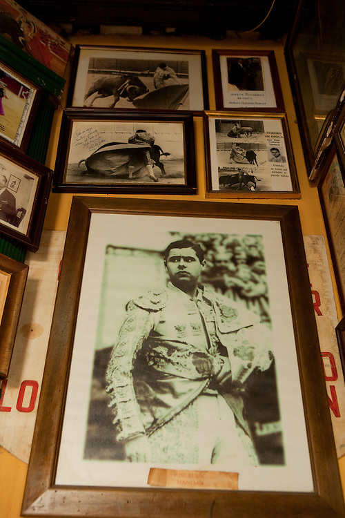 Picture of former bullfighter José Manteca, hanging from a wall at his restaurant, Casa Manteca, in La Viña quarter, Cadiz, Andalucía, Spain.