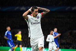 09.03.2016, Stamford Bridge, London, ENG, UEFA CL, FC Chelsea vs Paris Saint Germain, Achtelfinale, Rueckspiel, im Bild di maria angel // during the UEFA Champions League Round of 16, 2nd Leg match between FC Chelsea vs Paris Saint Germain at the Stamford Bridge in London, Great Britain on 2016/03/09. EXPA Pictures © 2016, PhotoCredit: EXPA/ Pressesports/ LAHALLE PIERRE<br /> <br /> *****ATTENTION - for AUT, SLO, CRO, SRB, BIH, MAZ, POL only*****