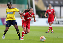 Jodie Brett of Bristol City Women goes past Ini Umotong of Oxford United - Mandatory by-line: Robbie Stephenson/JMP - 25/06/2016 - FOOTBALL - Stoke Gifford Stadium - Bristol, England - Bristol City Women v Oxford United Women - FA Women's Super League 2