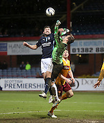 Dundee's Kostadin Gadzhalov challenges Motherwell keeper Dan Twardzik -  Dundee v Motherwell, SPFL Premiership at Dens Park <br /> <br /> <br />  - &copy; David Young - www.davidyoungphoto.co.uk - email: davidyoungphoto@gmail.com