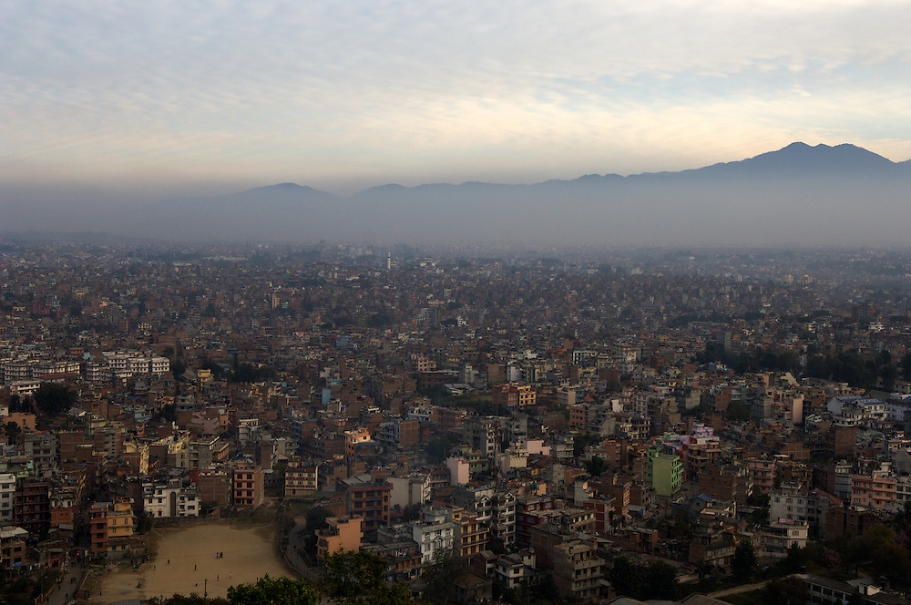 An afternoon view over Kathmandu from Swayambunath, or the Monkey Temple, Kathmandu, November 2010.