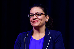 Rep. Rashida Tlaib (D-MI) takes part in a panel discussion led by Aimee Allison, touching the changes of the face of power in the United States after a history making number of diverse members were sworn into Congress the past elections, during a keynote discussion of the Netroots Nation progressive grassroots convention in Philadelphia, PA, on July 13, 2019.