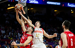 Vladimir Lucic of Serbia, Stefan Jovic of Serbia vs Semen Antonov of Russia during basketball match between National Teams of Russia and Serbia at Day 16 in Semifinal of the FIBA EuroBasket 2017 at Sinan Erdem Dome in Istanbul, Turkey on September 15, 2017. Photo by Vid Ponikvar / Sportida