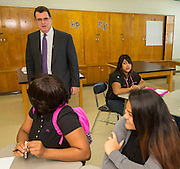 Houston ISD Superintendent Dr. Terry Grier tours MIlby, South Early College and the Jones Futures Academy during first day of school at Jones High School, August 25, 2014.