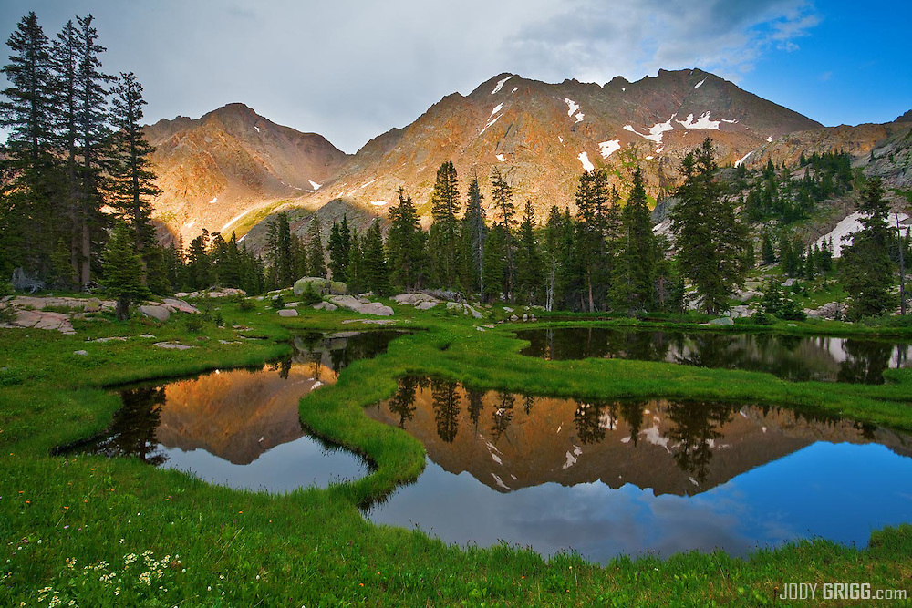 Zen Ponds in a basin on the eastside of the Gore Range mountains, Colorado.