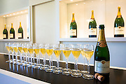 Glasses of champagne poured for tasting at Champagne Taittinger at Reims in the champagne region of France