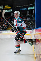 KELOWNA, CANADA - MARCH 10: Gordie Ballhorn #4 of the Kelowna Rockets enters the ice for second period against the Vancouver Giants on March 10, 2017 at Prospera Place in Kelowna, British Columbia, Canada.  (Photo by Marissa Baecker/Shoot the Breeze)  *** Local Caption ***