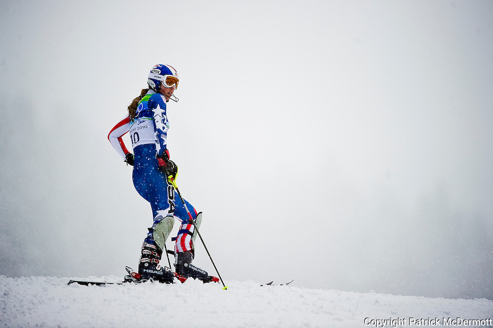 Lindsey Vonn, USA, pauses after missing a gate during the first run of the Women's Slalom during the 2010 Vancouver Winter Olympics in Whistler, British Columbia, Friday, Feb. 26, 2010.