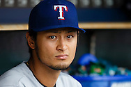 May 22, 2014; Detroit, MI, USA; Texas Rangers starting pitcher Yu Darvish (11) in the dugout against the Detroit Tigers at Comerica Park. Mandatory Credit: Rick Osentoski-USA TODAY Sports