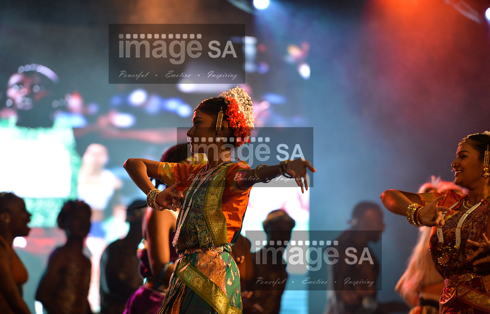 DURBAN, SOUTH AFRICA - JUNE 21: Indian dancers during the CAA 20th African Senior Championships Opening Ceremony at Growth Point Kings Park stadium on June 21, 2016 in Durban, South Africa. (Photo by Roger Sedres/Gallo Images)