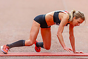 Hayley Carruthers (Great Britain) crawls towards the finish line during the Virgin Money 2019 London Marathon, London, United Kingdom on 28 April 2019.