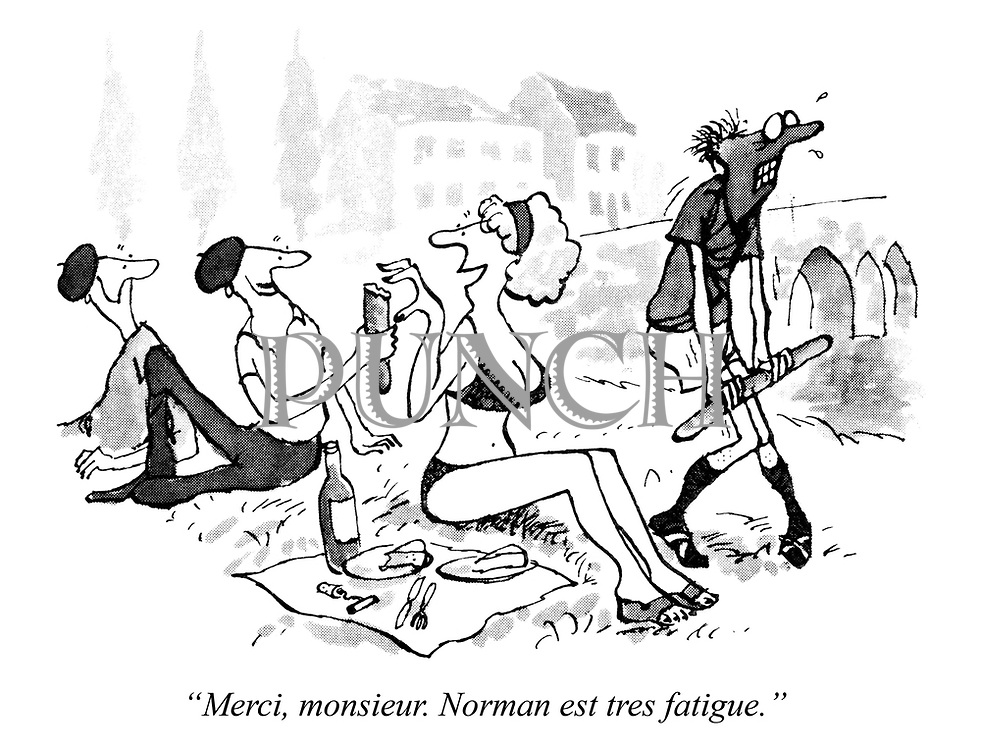 """Merci, monsieur. Norman est tres fatigue."""