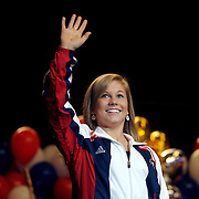 "Olympian Shawn Johnson is introduced to a crowd in Des Moines Iowa on August 26, 2008.  Johnson's homecoming was attended by over 7,000 fans who filled the Wells Fargo Arena in Des Moines.  Johnson showed off her four Olympic medals, including a gold for the balance beam.  The city of Des Moines declared the month of September ""Shawn Johnson Month"".  As one of the most recognizable faces of the Beijing Olympics, Johnson has been on a whirlwind post Olympics tour, which has included an appearance on The David Letterman Show.  She will also appear on Jay Leno, and will lead the Pledge of Allegiance at this year's Democratic Convention."