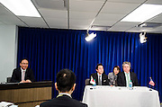 Takero Goto, Senior Exectuive Director of CODA(Content Overseas Distribution Association) and Michael P. O'Leary, Senior Executive Vice President of Global Policy and Enternal Affairs at MPAA(Motion Picture Associations of America) sign a MOU between the two organizations at the National Press Club building in Washington DC on March 20, 2014. Photo by Kris Connor/Motion Picture Association