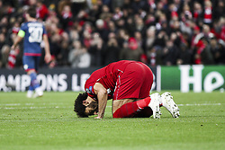 October 24, 2018 - Liverpool, United Kingdom - Liverpool forward Mohamed Salah (11) prays after scoring his goal during the Uefa Champions League Group Stage football match n.3  Liverpool v FK Crvena Zvezda on October 24, 2018, at the Anfield Road in Liverpool, England. (Credit Image: © Matteo Bottanelli/NurPhoto via ZUMA Press)