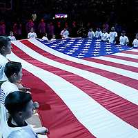 20 November 2016: Kids hold the American flag during the national anthem prior to the Denver Nuggets 105-91 victory over the Utah Jazz, at the Pepsi Center, Denver, Colorado, USA.