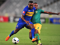 Cape Town--180401  Cape Town City midfielder Ayanda Patosichallenged by Jabulani Shongwe of Golden Arrows in a PSL game at the Cape Town Stadium. .Photographer;Phando Jikelo/African News Agency/ANA