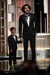 Jan 8, 2017 - Beverly Hills, California, U.S - SUNNY PAWAR and DEV PATEL present at the 74th Annual Golden Globe Awards at the Beverly Hilton in Beverly Hills, CA on Sunday, January 8, 2017. (Credit Image: ? HFPA/ZUMAPRESS.com)