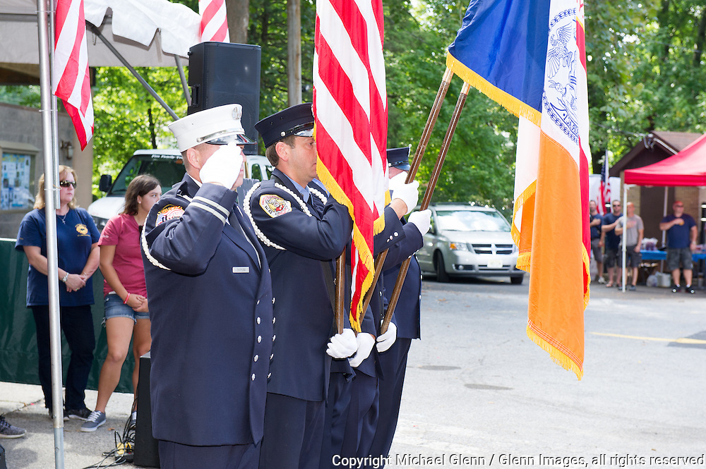 19 Sep 2015 Staten Island, New York US // The FDNY Ceremonial Detail Unit  presents the colors at the 8th annual Lt. John Martinson Memorial Picnic at the Hillside Swim Club //  Michael Glenn  /   for the FDNY