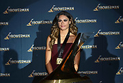 Dec 20, 2018; San Antonio, TX, USA; Women's finalist Sydney McLaughlin of Kentucky poses with the Bowerman trophy at the 10th Bowerman Awards at the JW Marriott San Antonio Hill Country Resort & Spa.