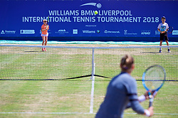 LIVERPOOL, ENGLAND - Sunday, June 24, 2018: Sofia Segui-Edmondson and James Rigby during day four of the Williams BMW Liverpool International Tennis Tournament 2018 at Aigburth Cricket Club. (Pic by Paul Greenwood/Propaganda)