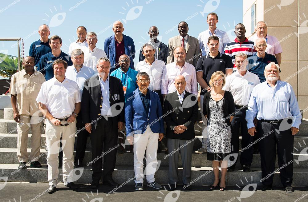 Fina Bureau 2013 -2017 from L to R upper row: Kazuo Sano ,Husain Al Mussalam ,Coaracy Nunes Filho, Errol Clarke,Lino Candido Lourenco,Erik van Heijningen ,Cornel MARCULESCU FINA Executive Director<br /> second line from high: Dale Neuburger, Fernando Carpena , Mohamed Diop <br /> Third line from high: Ben Ekumbo, Andrey Kryukov , Sam Ramsamy, Tamas Gyarfas,  Dimitris Diathessopoulos,  Matthew Dunn, Dennis Miller, Mustapha Larfaoui <br /> Lower line: Vladimir Salnikov , Paolo Barelli , Pipat Paniangvait, Julio C. MAGLIONE, Margo Mountjoy, Eugenio Martinez  - not present Qiuping Zhang <br /> 15 FINA World Aquatics Championships<br /> Day10 FINA Bureau<br /> Barcelona19 July - 4 August 2013<br /> Photo G. Scala/Insidefoto/Deepbluemedia.eu