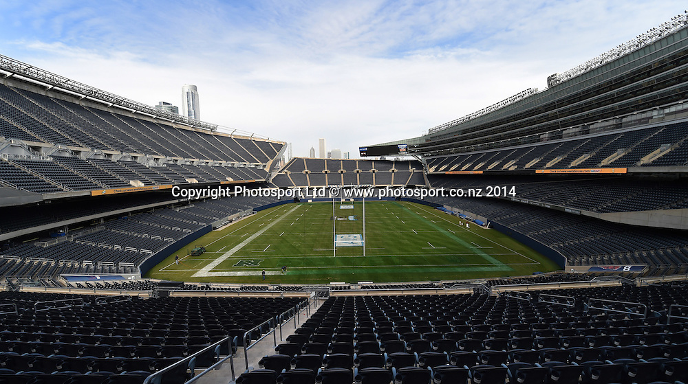 General view of Chicago's Soldier Field and home of the NFL Chicago Bears American football team ahead of the rugby union test match between the New Zealand All Blacks and the USA Eagles on Saturday. Chicago, USA. Thursday 30 October 2014. Photo: Andrew Cornaga/www.Photosport.co.nz