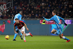 January 26, 2019 - Milan, Milan, Italy - Patrick Cutrone #63 of AC Milan competes for the ball with Kalidou Koulibaly #26 of SSC Napoli during the serie A match between AC Milan and SSC Napoli at Stadio Giuseppe Meazza on January 26, 2018 in Milan, Italy. (Credit Image: © Giuseppe Cottini/NurPhoto via ZUMA Press)