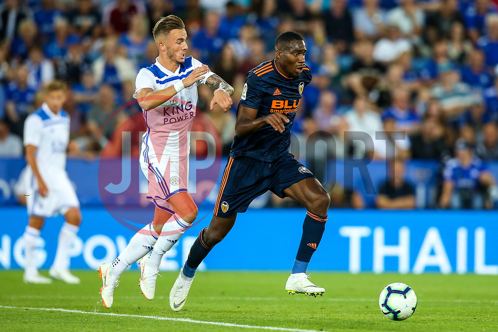 Geoffrey Kondogbia of Valencia takes on James Maddison of Leicester City - Mandatory by-line: Robbie Stephenson/JMP - 01/08/2018 - FOOTBALL - King Power Stadium - Leicester, England - Leicester City v Valencia - Pre-season friendly