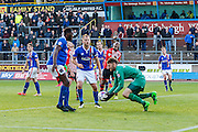 Carlisle United Goalkeeper Mark Gillespie pics up the cross during the Sky Bet League 2 match between Carlisle United and Exeter City at Brunton Park, Carlisle, England on 17 October 2015. Photo by Craig McAllister.
