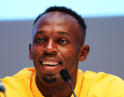 Image licensed to i-Images Picture Agency. 26/07/2014. Glasgow, United Kingdom. Usain Bolt  at a press conference on day three of the Commonwealth Games in Glasgow where he confirmed his attendance in the Relay event at the Games .   Picture by Stephen Lock / i-Images