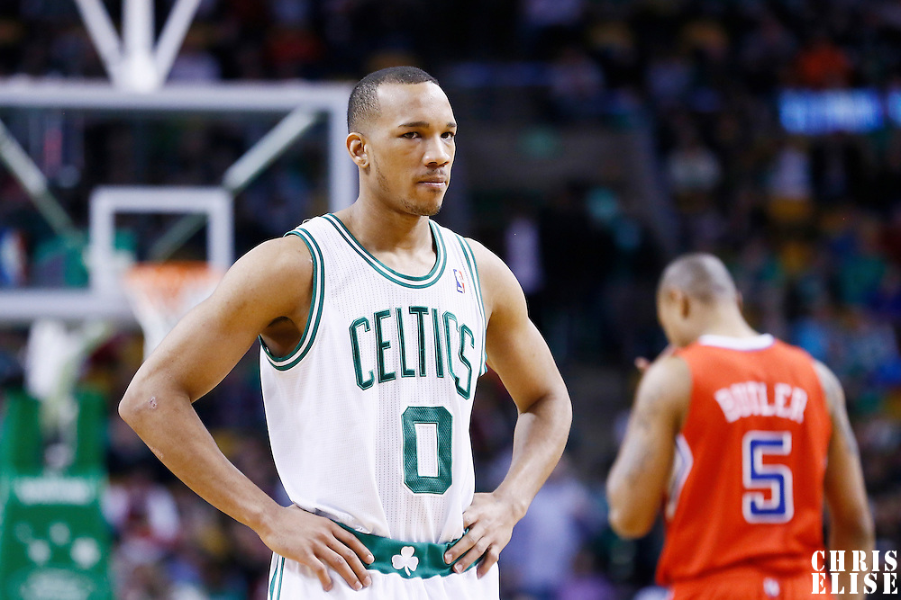 03 February 2013: Boston Celtics point guard Avery Bradley (0) rests during the Boston Celtics 106-104 victory over the Los Angeles Clippers at the TD Garden, Boston, Massachusetts, USA.